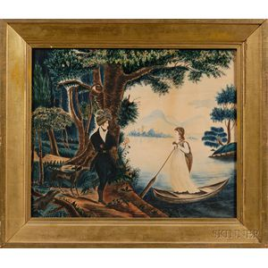 American School, Early 19th Century      School Girl Picture Depicting a Romantic Scene of a Young Man and Woman.