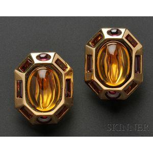 "18kt Gold Gem-set ""Byzantine"" Earclips, Verdura"