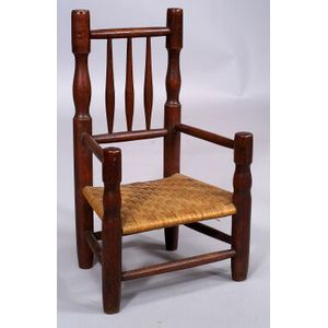 Stained Maple and Ash Turned Child's Armchair