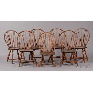 Assembled Set of Seven Braced Bow-back Windsor Side Chairs