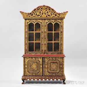 Export Gilt and Red Lacquer Two-section Cabinet