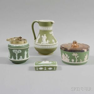 Four Wedgwood Green Jasper Items