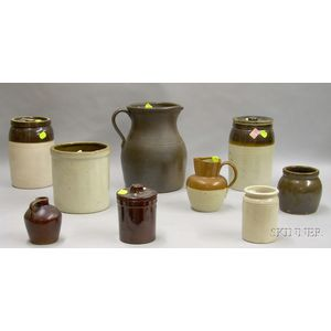 Ten Pieces of Glazed Domestic Stoneware