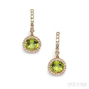 18kt Rose Gold, Peridot, and Diamond Earpendants