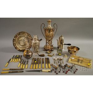 Group of Silver Plated Hollowware and Flatware