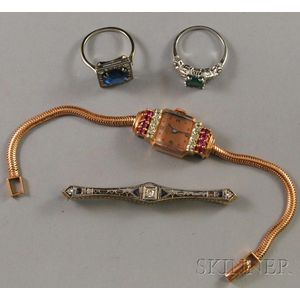 Four Gold, Diamond, and Colored Stone Jewelry Items