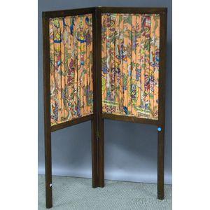 Small English Walnut and Fabric Two-panel Folding Floor Screen