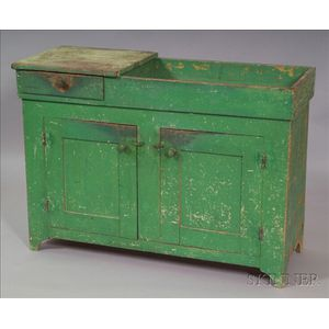 Apple Green-painted Poplar Dry Sink