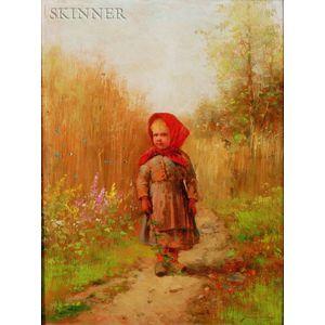 Johan Severin Nilson (Swedish, 1846-1918)    Young Girl on a Country Path