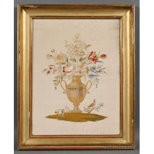 Silk Needlework Picture of an Urn of Flowers