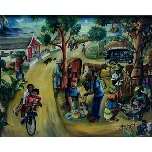 Wilson Bigaud (Haitian, 1931-2010)      Two Works Depicting Busy Market Scenes