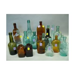 Nineteen Colored Glass Bottles and Flasks