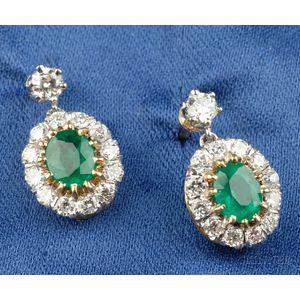 Emerald and Diamond Earpendants