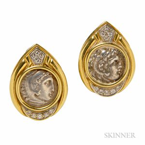 18kt Gold, Silver Coin, and Diamond Earrings