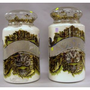 Large Pair of Eglomise Interior Decorated Glass Apothecary Covered Jars