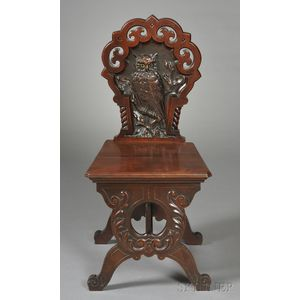 English Carved Walnut Hall Chair