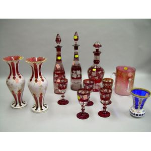 Bohemian Etched Ruby Flash Glass Pair of Decanters, Set of Five Wines and a Decanter, a Gilt Etched Loving Cup,...