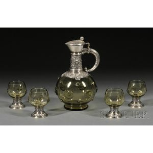 German .800 Silver and Green Glass Decanter and Four Matching Stemmed Cups