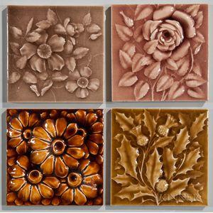 Four American Encaustic Tiling Co. Art Pottery Tiles