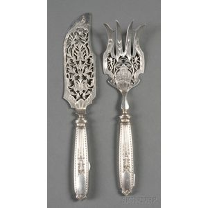 French .950 Silver Two-piece Fish Serving Set