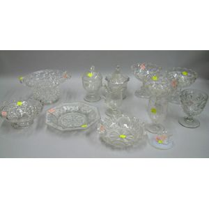 Thirteen Pieces of Colorless Pressed Pattern Glass Tableware and a Colorless Glass Basket