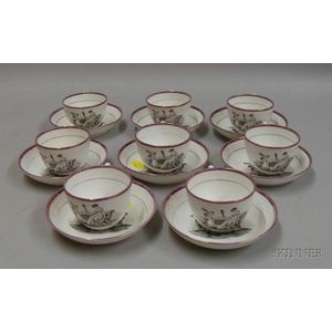 Set of Eight Transfer Print Decorated Pink Luster Teaware, eight cups and saucers, each decorated with a woman and...
