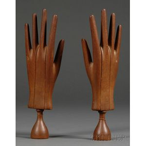 Pair of Wooden Hand Mannequins or Glove Stretchers