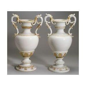 Pair of Large Meissen Porcelain Parcel Gilt Vases
