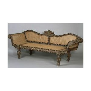 Anglo-Indian Inlaid Teakwood and Caned Sofa