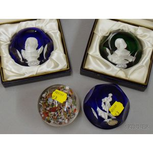 Three Baccarat Sulfide Paperweights and an Internally Decorated Floral Patterned Paperweight