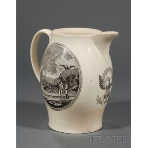 Large Transfer-decorated Liverpool Pottery Creamware Pitcher