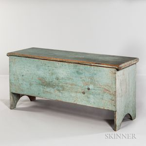Powder Blue-painted Pine Six-board Chest
