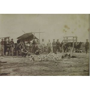Group Photograph Depicting Civil War Union Army Harness Makers, Blacksmiths,   Wheelwright, and Horseshoeing