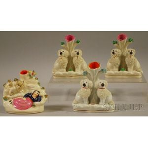 Four English Staffordshire Spaniel Figural Group Spill Vases