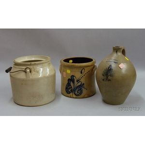 Three Pieces of Cobalt Decorated and Glazed Stoneware