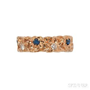 14kt Gold, Sapphire, and Diamond Band