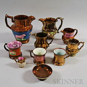 Ten Copper Lustre Ceramic Vessels