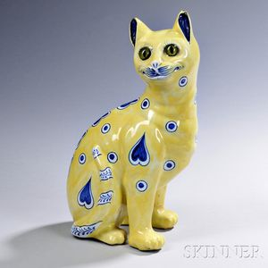 Emile Gallé Faience Model of a Cat