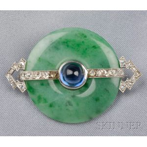 Art Deco Platinum, Jade, and Sapphire Brooch