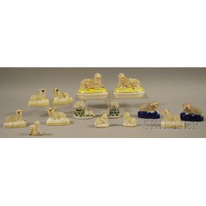 Fourteen English Staffordshire and German Porcelain Sheep Figures and Groups