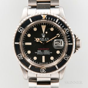 """Rolex """"Red"""" Submariner Reference 1680 Stainless Steel Wristwatch with Box, and Papers"""