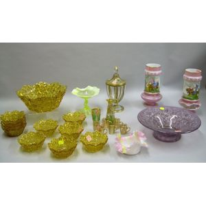 Group of Assorted 19th and 20th Century Art Glass Table Items