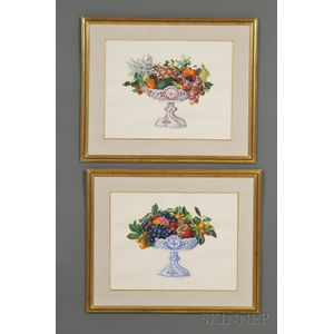 Agnes Potter Lowrie (American, 1892-1964)      Lot of Two Still Life Paintings:  Dresden Pierced Compotes with Fruit