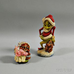Two David Sabol Carvings: The Grinch and a Porcupine