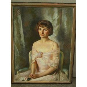 Framed Oil Portrait of a Woman in Pink