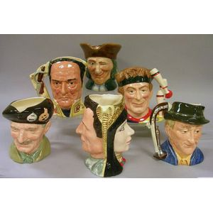 Six Large Royal Doulton Character Jugs