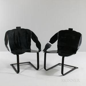 """Two Philip Miller Steel """"Much Obliged"""" Rocking Chairs"""