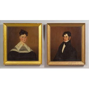American School, 19th Century,    Pair of Portraits of Thomas and Sophie Whipple of Ipswich, Massachusetts