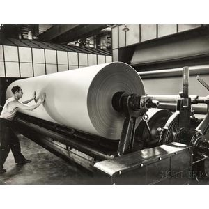 Margaret Bourke-White (American, 1904-1971)      Dry End of Paper Machine, Union Bag & Paper Co., Savannah, Georgia