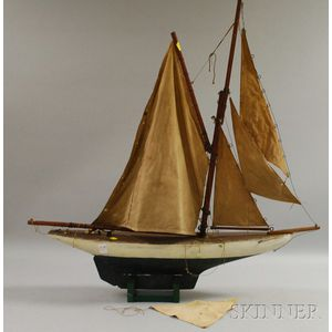 Painted Wooden Pond Boat